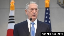 U.S. Defense Secretary James Mattis speaks in Seoul on February 3.