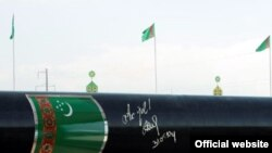 A newly built gas pipeline in Turkmenistan