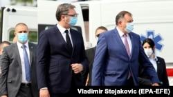 Predsednik Srbije Aleksandar Vučić i član Predsjedništva BiH Milorad Dodik. Susret u Banja Luci, 23. jula 2020.