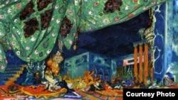 """Лев Бакст. Эскиз декорации к балету """"Шехеразада"""". 1910."""