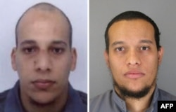 Photos released by French police show suspects Cherif Kouachi (left) and his brother Said Kouachi