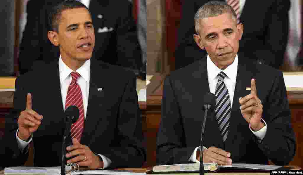 US President Barack Obama in 2009 (left) and 2016.