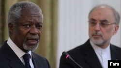 Kofi Annan (left), an envoy for the United Nations and the Arab League on Syria, attends a news conference with Iranian Foreign Minister Ali Akbar Salehi after a meeting with senior Iranian officials on July 10.