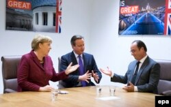 Angela Merkel, David Cameron și François Hollande, Bruxelles, 15 octombrie