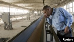 Частный предприниматель, владелец зернового элеватора, в одном из своих цехов. Акмолинская область, август 2010 года. Иллюстративное фото.