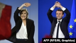 Fransiva, prezidentlige kandidatlar Marin Le Pen (Ç) Emmanuel Makron