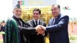 Главы Афганистана, Таджикистана и Туркменистана после подписания соглашения о строительство ж/д ТАТ. 2013 год