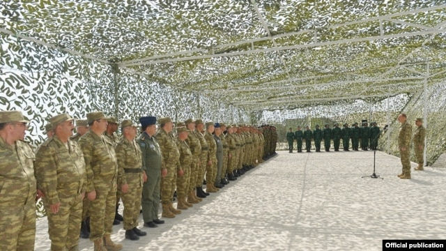 Azerbaijan - President Ilham Aliyev addresses senior army officers after military exercises, 26Jun2014.