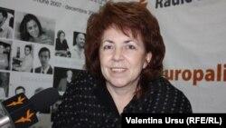 Olga Poalelungi în studioul Europei Libere la Chișinău