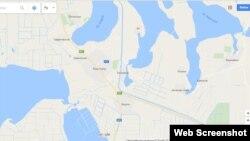 Google haritasınıñ skrinşotı, Krasnoperekopsk adı Yañı Qapuğa deñiştirildi