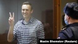 Российский оппозиционер Алексей Навальный в суде. Москва, 20 февраля 2021 года.