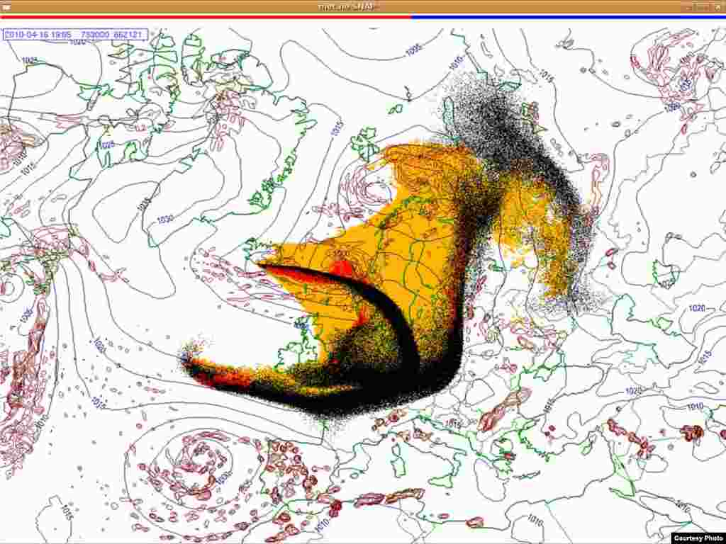 Projected spread of Icelandic ash cloud (16.4. 1900 UTC) - These images show a projection of the movement of the ash clouds from the Iceland volcanic eruption moving over Europe. The colors on the map represent: yellow: ash that has fallen by itself red: ash that has fallen by precipitation black: the actual ash cloud Source: Norwegian Meteorological Institute