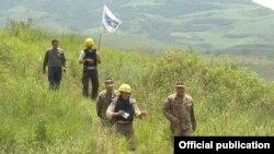 Armenia - OSCE observers escorted by Armenian army officers monitor the ceasefire regime in Tavush province bordering Azerbaijan, 24Jun2016.
