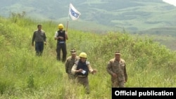 Armenia - OSCE observers escorted by Armenian army officers monitor the ceasefire regime in Tavush province bordering Azerbaijan, 24Jun2016.