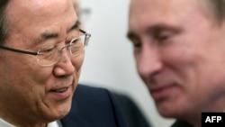 Генеральний секретар ООН Пан Ґі Мун (ліворуч) та президент Росії Володимир Путін. Архівне фото