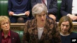 Premierul britanic Theresa May vorbind în Parlament la Londra despre posibilitatea foarte mare ca Rusia să fie vinovată de otrăvirea lui Skripal