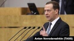 Russian Prime Minister Dmitry Medvedev in the State Duma on April 11.