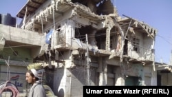 Buildings damaged by shelling and airstrikes in Mir Ali, North Waziristan.