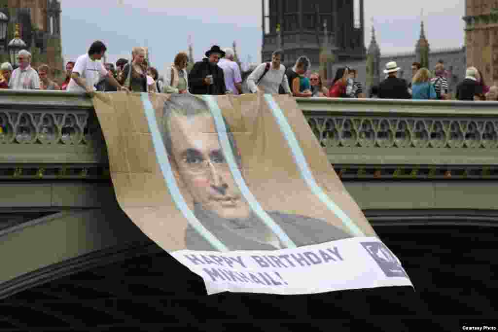 Activists in London send a birthday message to Khodorkovsky in 2012. On June 26, 2013, he celebrated his 50th birthday in a remote prison colony near the Arctic Circle.