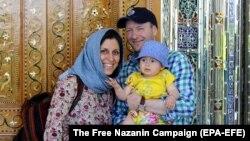 A file photo of British-Iranian woman Nazanin Zaghari-Ratcliffe with her husband Richard Ratcliffe and daughter Gabriella.