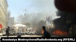 Киевтің орталығындағы белсенділер мен милицияның қақтығысы. 7 тамыз 2014 жыл.