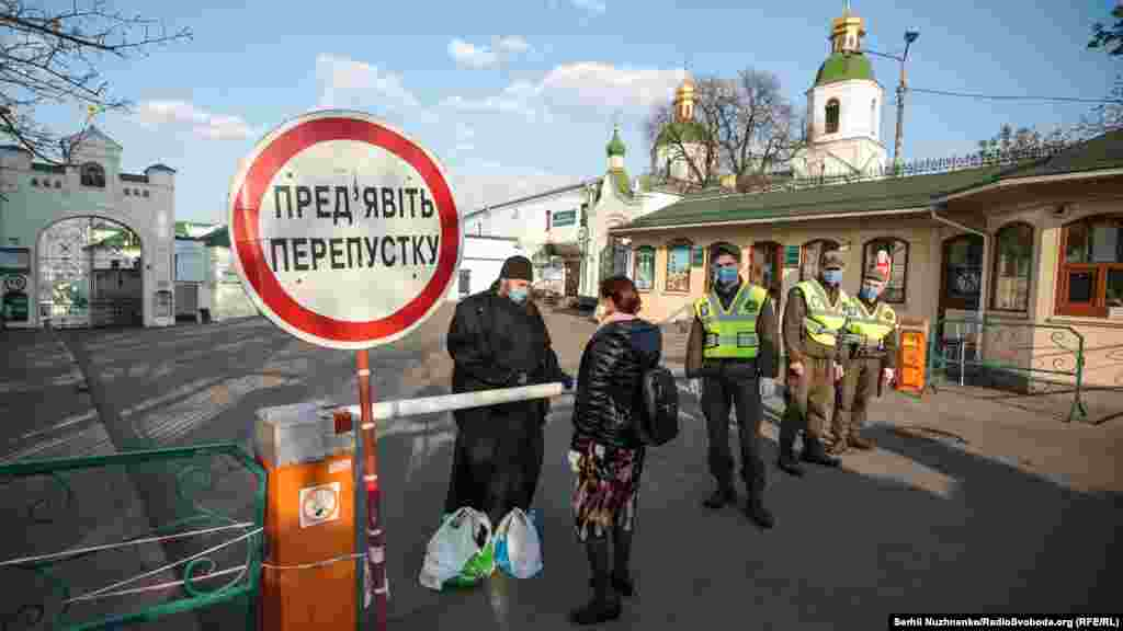 Ukrainian police restrict the number of people arriving at Kyiv Pechersk Lavra monastery for Easter celebrations on April 18. It was one of the only places that allowed worshipers instead ofbroadcasting services. The complex was placed under quarantine after more than 90 of its monks tested positive for the coronavirus. At least two have died. The monastery is controlled by a rival Orthodox denomination in Ukraine that is loyal to the Russian church in Moscow.