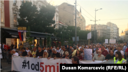 The 37th anti-government protest in Belgrade on August 17.