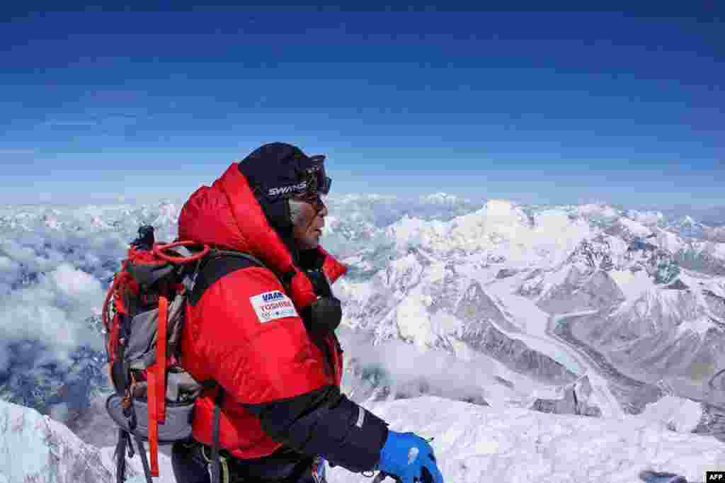 Eighty-year-old Yuichiro Miura at the summit of Mount Everest