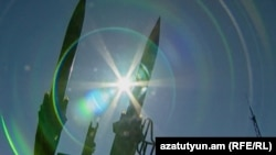 Surface-to-air missiles at a military base in Gyumri