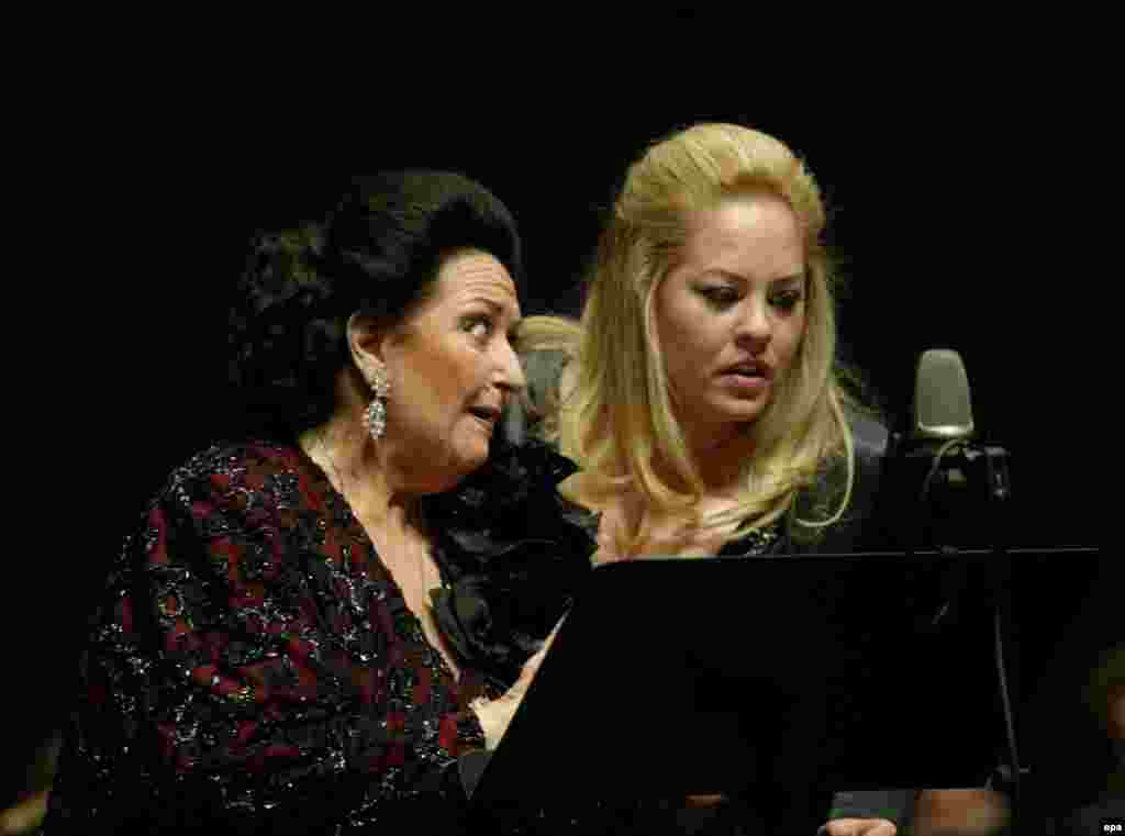 Montserrat Caballe (left) performs with Katarina Jankovic and the Radio Belgrade Symphony Orchestra in Belgrade on April 8, 2006.