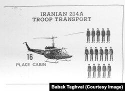 حداکثر میزان نیروی قابل حمل توسط هلیکوپتر بل 214آ در شرایطی که موتور آن کاملا سالم باشد ۱۶ نفر بوده که در ۲۰ سال اخیر به نصف کاهش یافته است. برگه ای از کتاب خلبانان بل 214آ. (آرشیو بابک تقوایی)