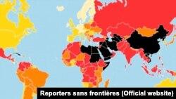 Աշխարհի քարտեզը՝ ըստ «Լրագրողներ առանց սահմանների» կազմակերպության 2018-ի Մամուլի ազատության ցուցիչի