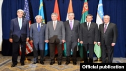 U.S. Secretary of State John Kerry with five Central Asian foreign ministers on October 28.