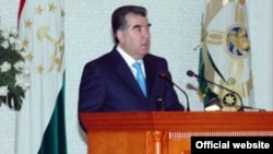 Tajikistan, Dushanbe city, Tajik President Emomali Rahmon during government session, 18Jan2011