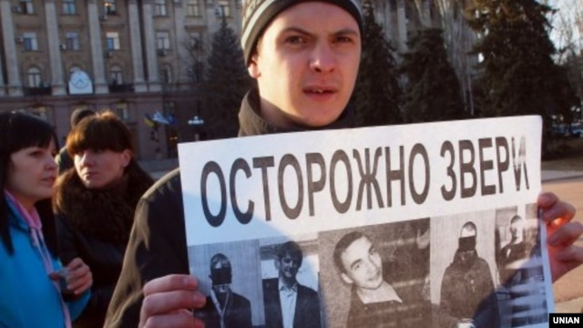 A rally in support of Oksana Makar in Kyiv on March 15.