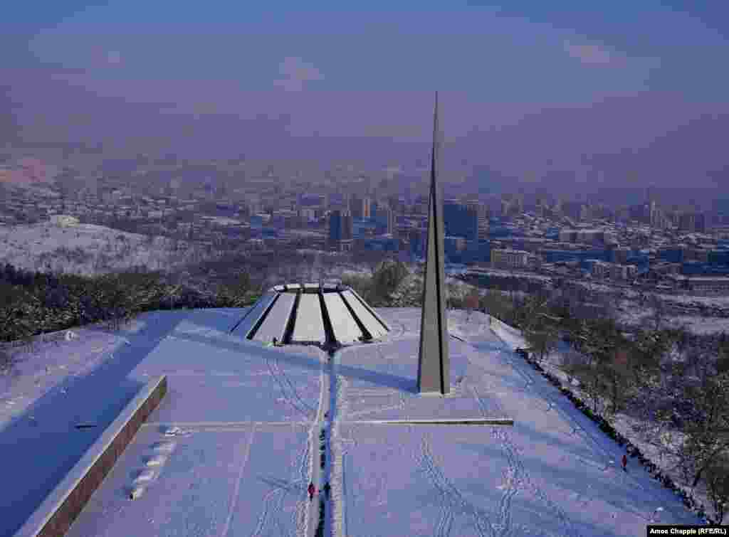 Yerevan, Armenia. A dusting of snow coats the Genocide Memorial.