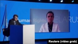 Svetlana Țihanovskaia vorbind prin video conferință la Geneva
