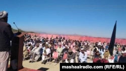 Participants of a sit-in protest in Mir Ali, North Waziristan, demand that the security forces free the locals who were detained.