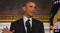 ԱՄՆ նախագահ Բարաք Օբաման հայտարարությամբ է հանդես գալիս Սպիտակ տանը, արխիվ
