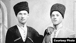 """North Ossetian native Murzakan Kuchiev (1890-1940) (right) claimed to have been plucked from icy Atlantic waters after the """"Titanic"""" sank in April 1912."""