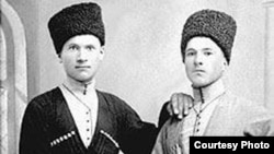 """Murzakan Kuchiyev (right) was born in the village of Kadgaron in North Ossetia and claims to have been a passenger on the """"Titanic."""""""