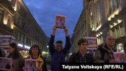 Акция в поддержку Андрея Пивоварова в Петербурге, сентябрь 2015 года