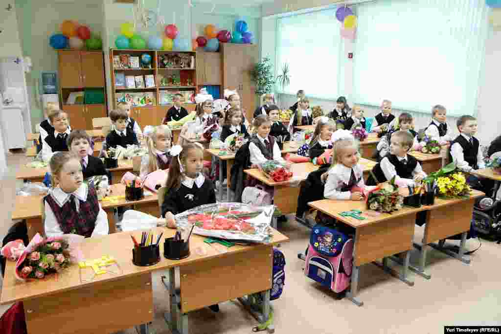 The first day for first-graders at School No. 1507 in Moscow.
