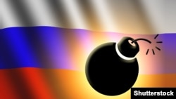 Russia – The Russian flag and bomb illustration.