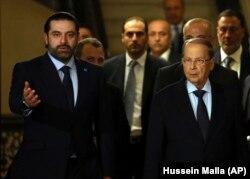 در کنار میشل عون (راست) رئیسجمهور لبنان
