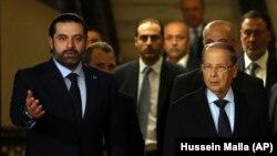 میشل عون (راست) رئیسجمهوری همراه با سعد حریری، نخستوزیر لبنان.