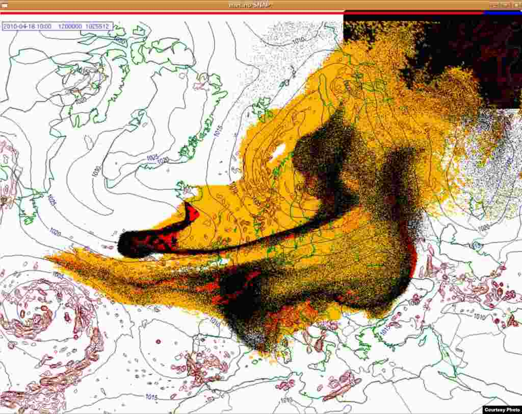 Projected spread of Icelandic ash cloud (18.4. 1000 UTC) - These images show a projection of the movement of the ash clouds from the Iceland volcanic eruption moving over Europe. The colors on the map represent: yellow: ash that has fallen by itself red: ash that has fallen by precipitation black: the actual ash cloud Source: Norwegian Meteorological Institute