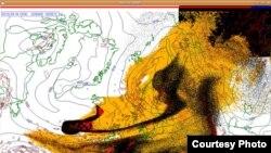Извержение вулкана в Исландии. Схема, выполненная на основании спутникового снимка, распространена Норвежским метеорологическим институтом