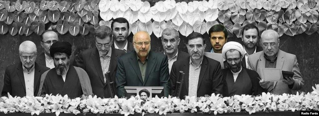 محمدباقر قالیباف و محسن دهنوی در مراسم سوگند هیئت رئیسه مجلس