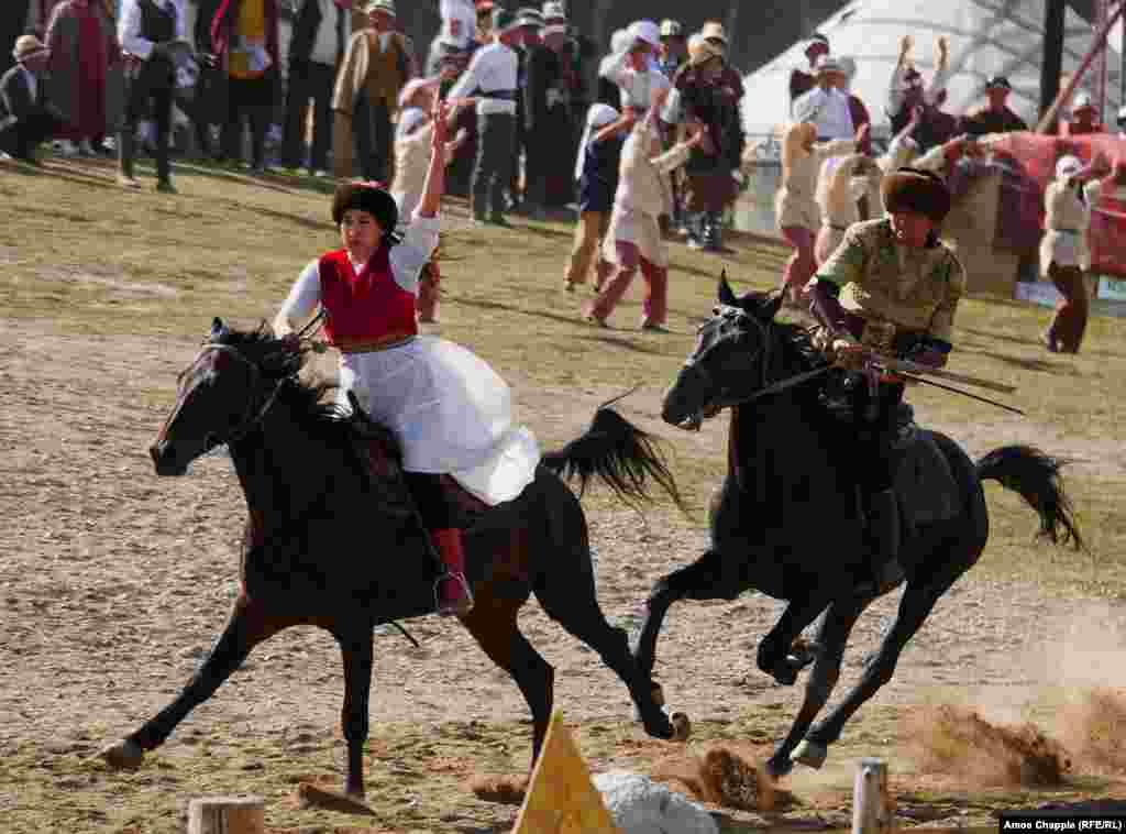 A stunt rider sets the pace during a performance. Organizers expected competitors from 77 countries to participate in 37 types of ethnosports at these 3rd World Nomad Games.